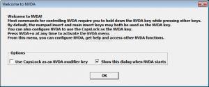 Capture d'écran du message de bienvenue de NVDA