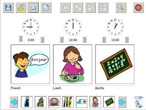 Capture d'écran du logiciel avec un emploi du temps de la journée