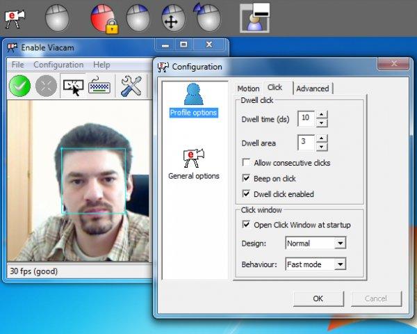 Eviacam est un logiciel qui permet de déplacer le curseur de la souris sur PC sans avoir à toucher la souris. Cette application se base sur les mouvements de la tête. Le clic de souris est également possible.