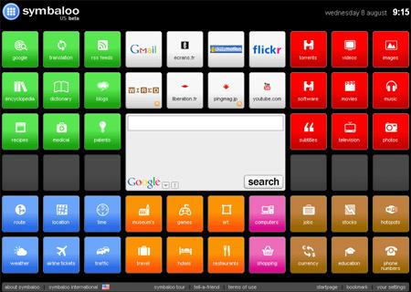 Symbaloo est un bureau virtuel permettant l'affichage de ses favoris sous forme de boutons colorés classés par catégorie et illustrés par le logo des sites auxquels ils se rapportent. Ils deviennent alors accessibles par un simple clic.