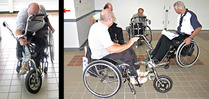 Le No Limits Trike est une troisirème roue motorisée pour les fauteuils roulants manuels dévoilée par un partipant lors de indépendance Expo à New York.