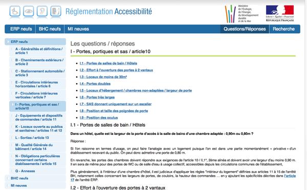 Un site du gouvernement très utile pour connaître les normes et réglementations en vigueur concernant l'accessibilité des lieux publics.