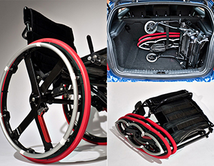 ... Un système de roues de fauteuil roulant pliant qui contribuent à rendre un fauteuil roulant plus facilement transportable ...
