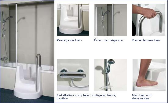 Aujourd'hui, Mr TRUCHY de la société Objectif-travaux, est venu nous présenter un concept de remplacement de baignoire en 12h00 ainsi que l'installation d'un passage de bain fabriqués par une société belge BADREPAR.
