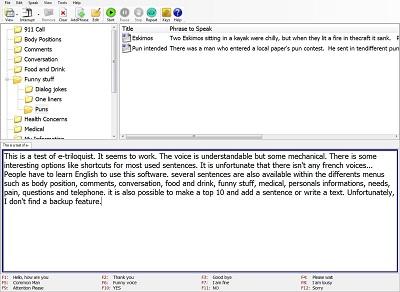 Ce logiciel permet de restituer par voix de synthèse le texte saisi depuis le clavier ou un clavier virtuel, dans sa fenêtre Main Speaking et d'accéder à des messages courants pré-enregistrés.