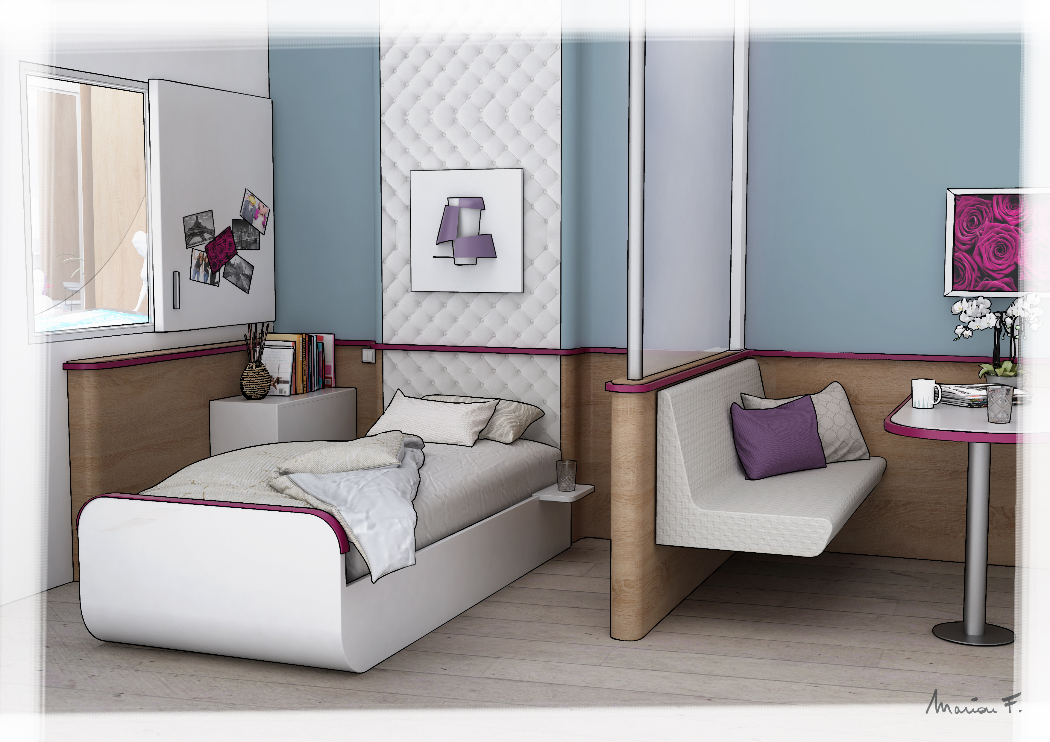 Le concept room for Chambre hopital design